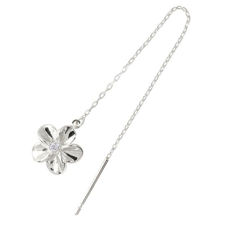 ピアス レディース ハワイアンジュエリー プラチナ ハワイアン プラチナ 片耳ピアス アメリカン ロングピアス ダイヤモンド 花 フラワー 揺れる ダイヤ 宝石
