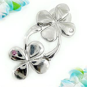 ピアス レディース 片耳ダイヤモンド ピンクサファイア ホワイトゴールドk18 クローバー四つ葉 ダイヤ 18金 宝石 送料無料 母の日