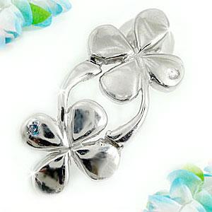ピアス レディース 片耳ダイヤモンド ブルーダイヤモンド ホワイトゴールドk18 クローバー四つ葉 ダイヤ 18金 宝石 送料無料