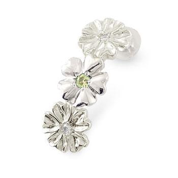 ピアス レディース ハワイアンジュエリー ペリドット ダイヤモンド 片耳ピアス8月誕生石 ホワイトゴールドk18 18金 k18wg ダイヤ 送料無料