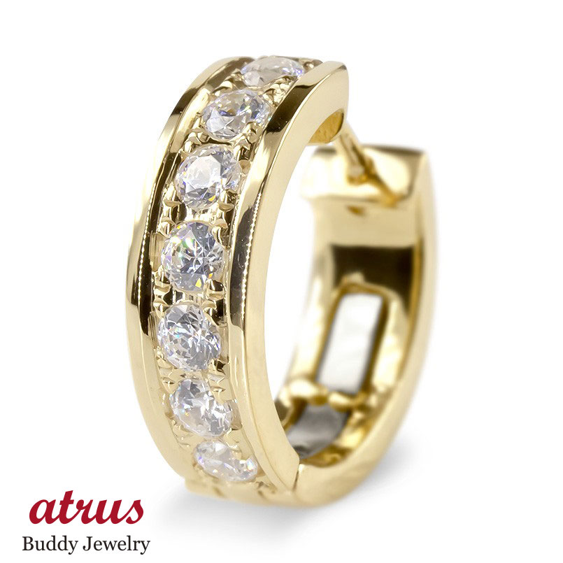 18金 片耳ピアス ダイヤモンド フープピアス 中折れ式ピアス メンズ ゴールド イエローゴールドk18 シンプル ピアス リング ステンレスバネ入り 送料無料