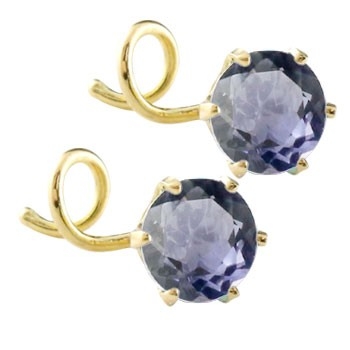 ピアス メンズ キャッチのいらないピアス アイオライト ピアス イエローゴールドk18 シンプル 18金 キャッチナッシャー 宝石