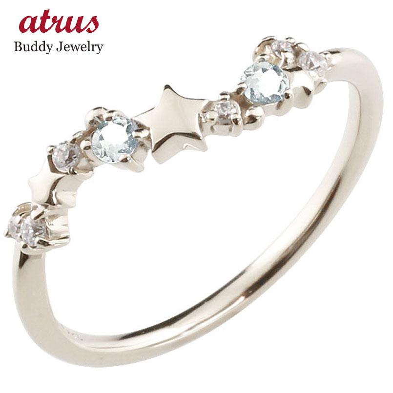 星 スター シルバーリング アクアマリン ダイヤモンド ピンキーリング 指輪 華奢リング 重ね付け sv レディース 3月誕生石 贈り物 誕生日プレゼント ギフト ファッション お返し 妻 嫁 奥さん 女性 彼女 娘 母 祖母 パートナー 送料無料