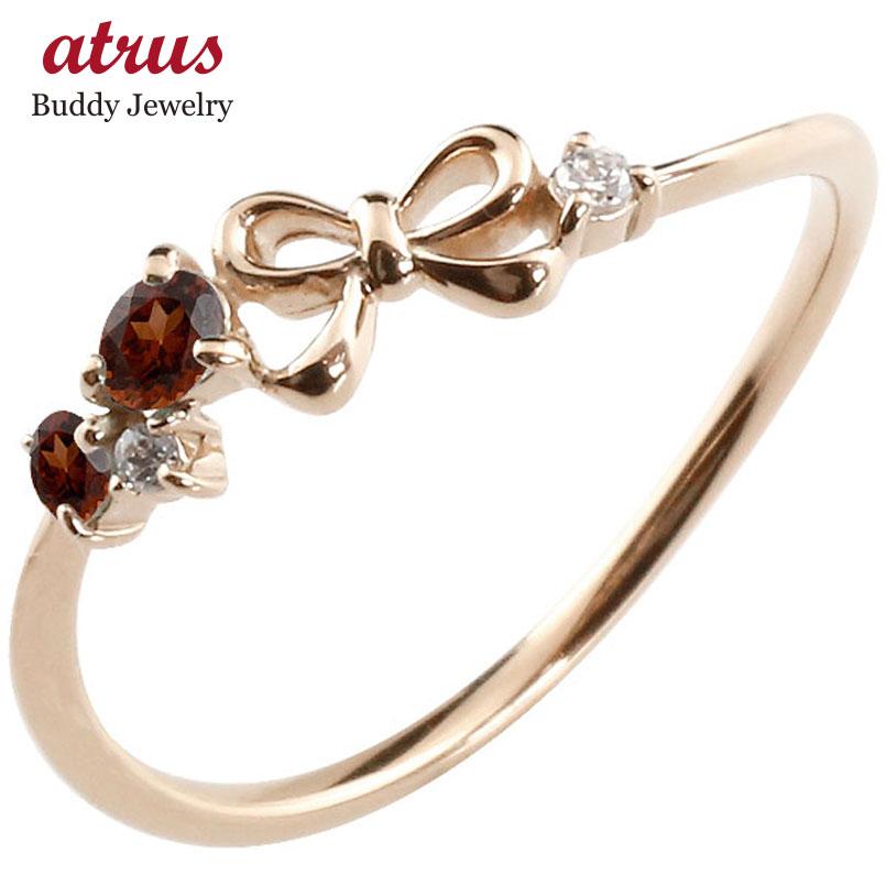 【送料無料】リボン リング ガーネット ダイヤモンド ピンクゴールドk18 ピンキーリング 指輪 華奢リング 重ね付け 18金 レディース 1月誕生石 贈り物 誕生日プレゼント ギフト ファッション お返し