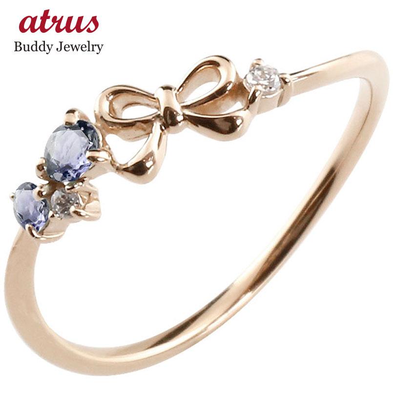 【送料無料】リボン リング アイオライト ダイヤモンド ピンクゴールドk18 ピンキーリング 指輪 華奢リング 重ね付け 18金 レディース 贈り物 誕生日プレゼント ギフト ファッション お返し