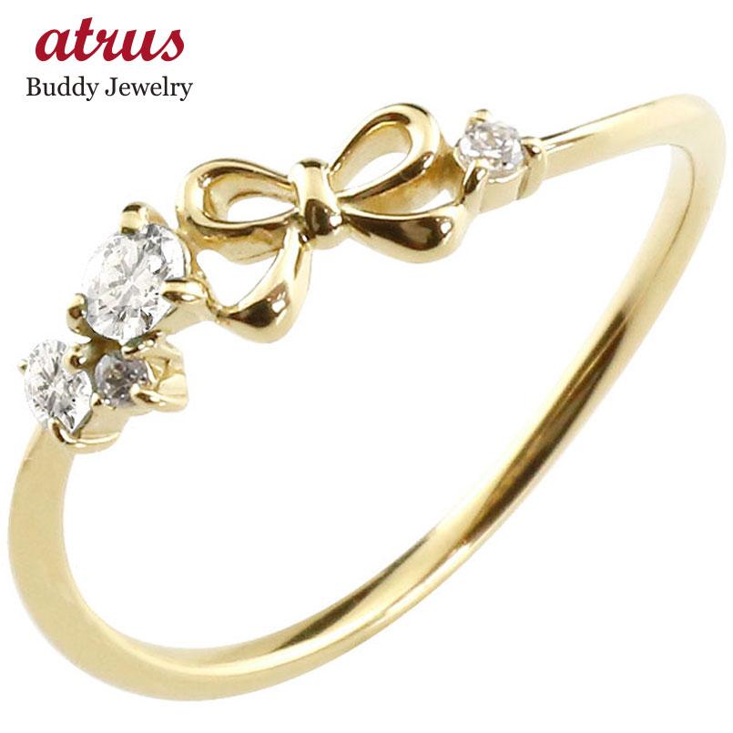 【送料無料】リボン リング ダイヤモンド イエローゴールドk10 ピンキーリング 指輪 華奢リング 重ね付け 10金 レディース 4月誕生石 贈り物 誕生日プレゼント ギフト ファッション お返し