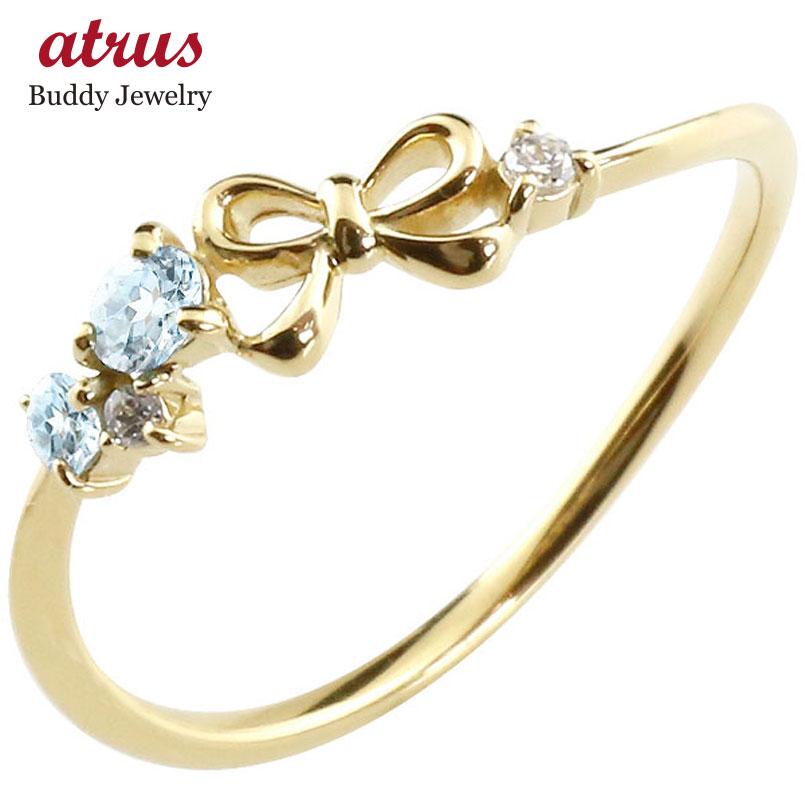 ブルートパーズ ファッション イエローゴールドk18 18金 ピンキーリング リボン ダイヤモンド リング 11月誕生石 送料無料 レディース 贈り物 誕生日プレゼント お返し 重ね付け 華奢リング 指輪 ギフト