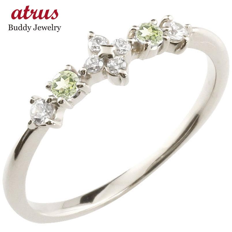 【送料無料】フラワー 花 リング ペリドット ダイヤモンド ホワイトゴールドk18 ピンキーリング 指輪 華奢リング 重ね付け 18金 レディース 8月誕生石 贈り物 誕生日プレゼント ギフト ファッション お返し