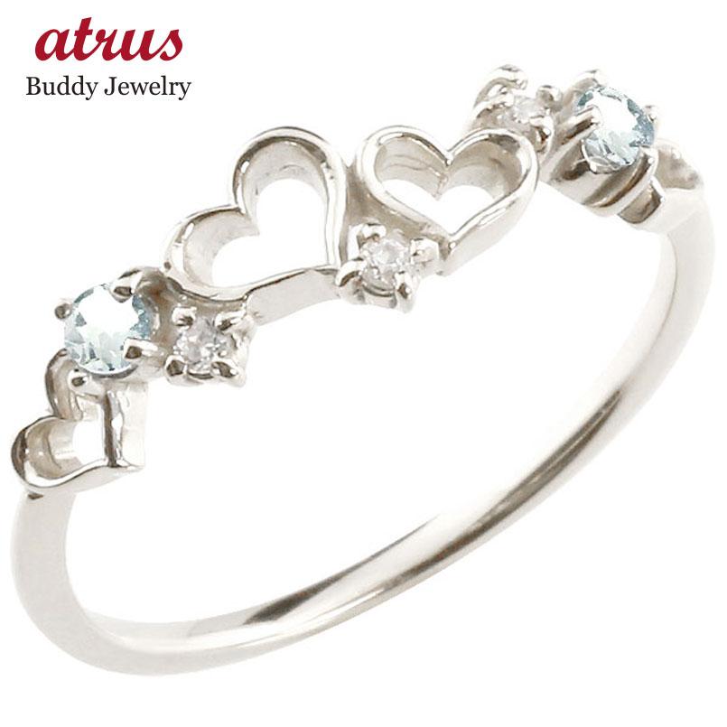 【送料無料】オープンハート リング アクアマリン ダイヤモンド 指輪 ピンキーリング ホワイトゴールドk18 華奢リング 重ね付け 18金 レディース 3月誕生石 贈り物 誕生日プレゼント ギフト ファッション お返し