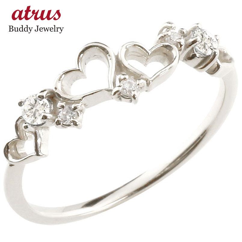 オープンハート リング ダイヤモンド ダイヤ 指輪 ピンキーリング ホワイトゴールドk18 華奢リング 重ね付け 18金 レディース 贈り物 誕生日プレゼント ギフト ファッション お返し 妻 嫁 奥さん 女性 彼女 娘 母 祖母 パートナー 送料無料