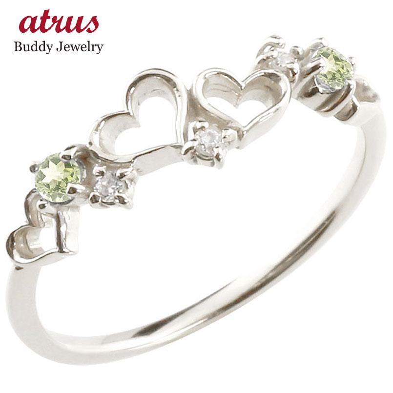 【送料無料】オープンハート プラチナリング ペリドット ダイヤモンド 指輪 ピンキーリング 華奢リング 重ね付け pt900 レディース 8月誕生石 贈り物 誕生日プレゼント ギフト ファッション お返し