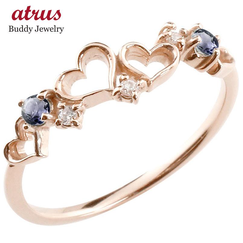 【送料無料】オープンハート リング アイオライト ダイヤモンド 指輪 ピンキーリング ピンクゴールドk18 華奢リング 重ね付け 18金 レディース 贈り物 誕生日プレゼント ギフト ファッション お返し