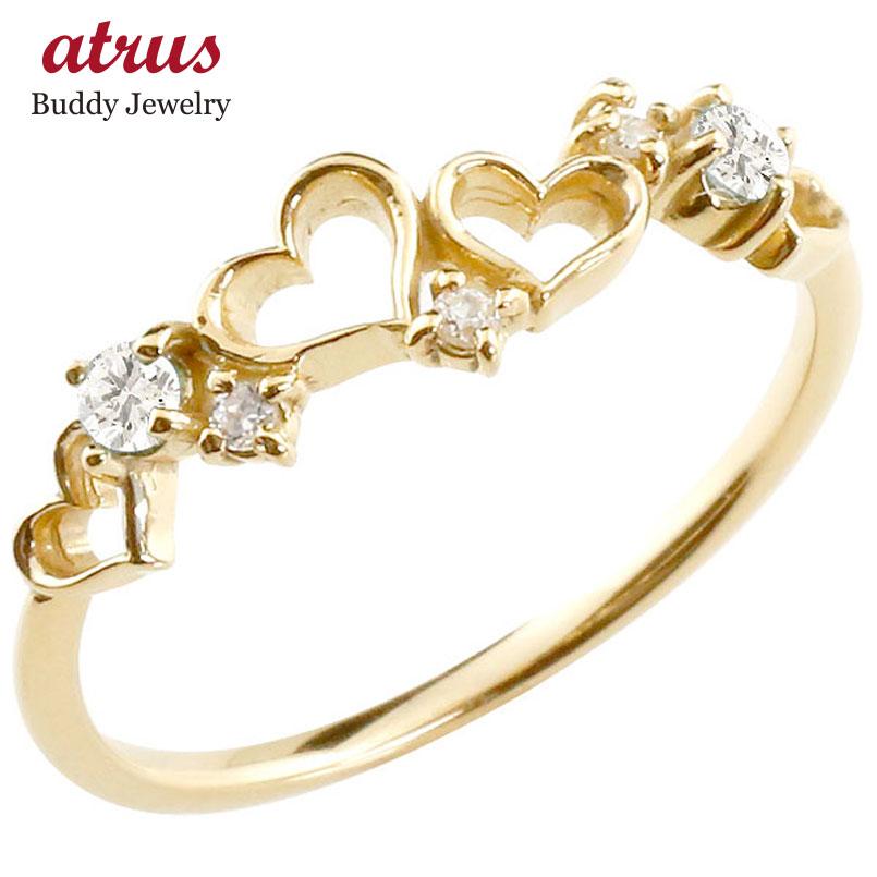 【送料無料】オープンハート リング ダイヤモンド ダイヤ 指輪 ピンキーリング イエローゴールドk18 華奢リング 重ね付け 18金 レディース 贈り物 誕生日プレゼント ギフト ファッション お返し