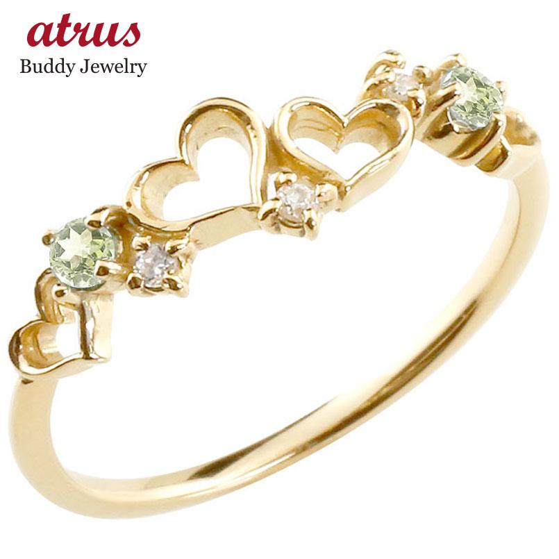 オープンハート リング ペリドット ダイヤモンド 指輪 ピンキーリング イエローゴールドk10 華奢リング 重ね付け 10金 レディース 8月誕生石 贈り物 誕生日プレゼント ギフト ファッション お返し 妻 嫁 奥さん 女性 彼女 娘 母 祖母 パートナー 送料無料
