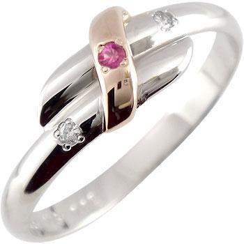 ルビー ダイヤモンドリング ピンキーリング ホワイトゴールドk18 ピンクゴールドk18 指輪 18金 ダイヤ 7月誕生石 ストレート 2.3 贈り物 誕生日プレゼント ギフト ファッション