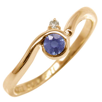 アイオライト リング ダイヤモンド 指輪 ピンクゴールドk18 ピンキーリング 18金 ダイヤ ストレート ファッションリング 贈り物 誕生日プレゼント ギフト ファッション 妻 嫁 奥さん 女性 彼女 娘 母 祖母 パートナー 送料無料