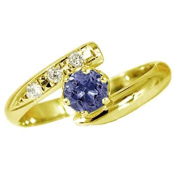 ピンキーリング アイオライト リング ダイヤモンド 指輪 イエローゴールドk18 18金 ダイヤ ストレート 宝石 送料無料