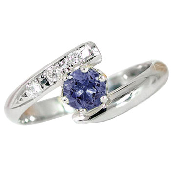 ピンキーリング アイオライト リング ダイヤモンド 指輪 ホワイトゴールドk18 18金 ダイヤ ストレート 宝石 送料無料
