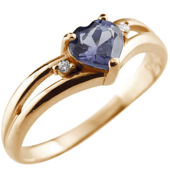 ハート リング アイオライト ダイヤモンド 指輪 ピンクゴールドk18 ダイヤ 18金 ファッションリング 贈り物 誕生日プレゼント ギフト ファッション 妻 嫁 奥さん 女性 彼女 娘 母 祖母 パートナー 送料無料