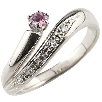ピンクサファイア プラチナリング 指輪 ダイヤモンド ダイヤ スパイラルリング ピンキーリング 9月誕生石 ストレート ファッションリング 贈り物 誕生日プレゼント ギフト ファッション 妻 嫁 奥さん 女性 彼女 娘 母 祖母 パートナー 送料無料