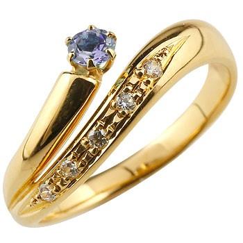 アメジスト リング 指輪 ダイヤモンド ダイヤ スパイラルリング ピンキーリング イエローゴールドk18 18金 2月誕生石 ストレート ファッションリング 贈り物 誕生日プレゼント ギフト ファッション 妻 嫁 奥さん 女性 彼女 娘 母 祖母 パートナー 送料無料