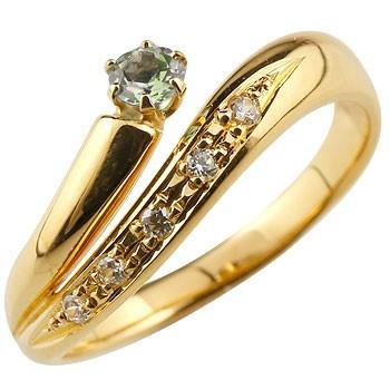 ペリドット リング 指輪 ダイヤモンド ダイヤ スパイラルリング ピンキーリング イエローゴールドk18 18金 8月誕生石 ストレート ファッションリング 贈り物 誕生日プレゼント ギフト ファッション 妻 嫁 奥さん 女性 彼女 娘 母 祖母 パートナー 送料無料