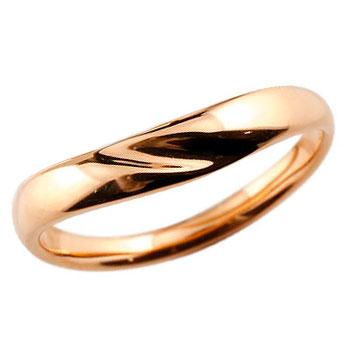 V字リング 指輪 ピンクゴールドk18 ピンキーリング 地金リング 18金 ブイ字 シンプル レディース 宝石なし ウェーブリング ファッションリング 贈り物 誕生日プレゼント ギフト ファッション お返し