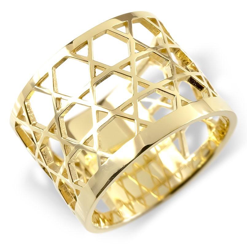 ゴールド リング 籠目 メンズ 指輪 10金 イエローゴールドk10 ピンキーリング 幅広 透かし 和風 和柄 かごめ カゴメ 地金 男性 コントラッド 東京 送料無料 音楽会 出産祝 卒業祝