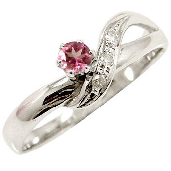 【送料無料】 ピンクトルマリン ダイヤモンドリング ピンキーリング ホワイトゴールドk18 指輪 10月誕生石 18金 ダイヤ ストレート 贈り物 誕生日プレゼント ギフト ファッション