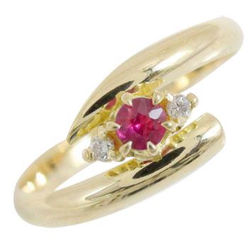 ピンキーリング ルビーリング ダイヤモンド 指輪 イエローゴールドk18 7月誕生石 18金 ダイヤ ストレート 送料無料
