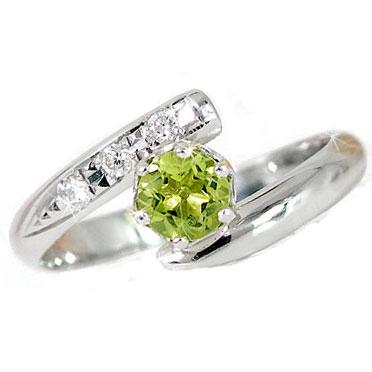 ピンキーリング ペリドット 8月の誕生石 指輪 ホワイトゴールドk10リング;ダイヤモンド 10金 ダイヤ ストレート 2.3 宝石 送料無料