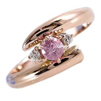 ピンキーリング ピンクサファイア ダイヤモンド リング 指輪 ピンクゴールドk10 9月誕生石 10金 ダイヤ ストレート 2.3 宝石 送料無料