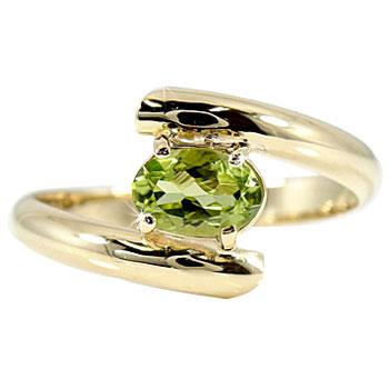 【送料無料】ペリドット 8月の誕生石リングイエローゴールドk10指輪 グリーン石8月 ピンキーリング 10金 ストレート 贈り物 誕生日プレゼント ギフト ファッション