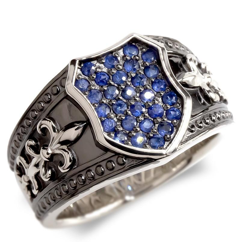 プラチナ リング メンズ サファイア シールド 指輪 pt900 ブラックメッキ ユリの紋章 ミル打ち 印台 盾 ピンキーリング 男性 幅広 カレッジリング 送料無料