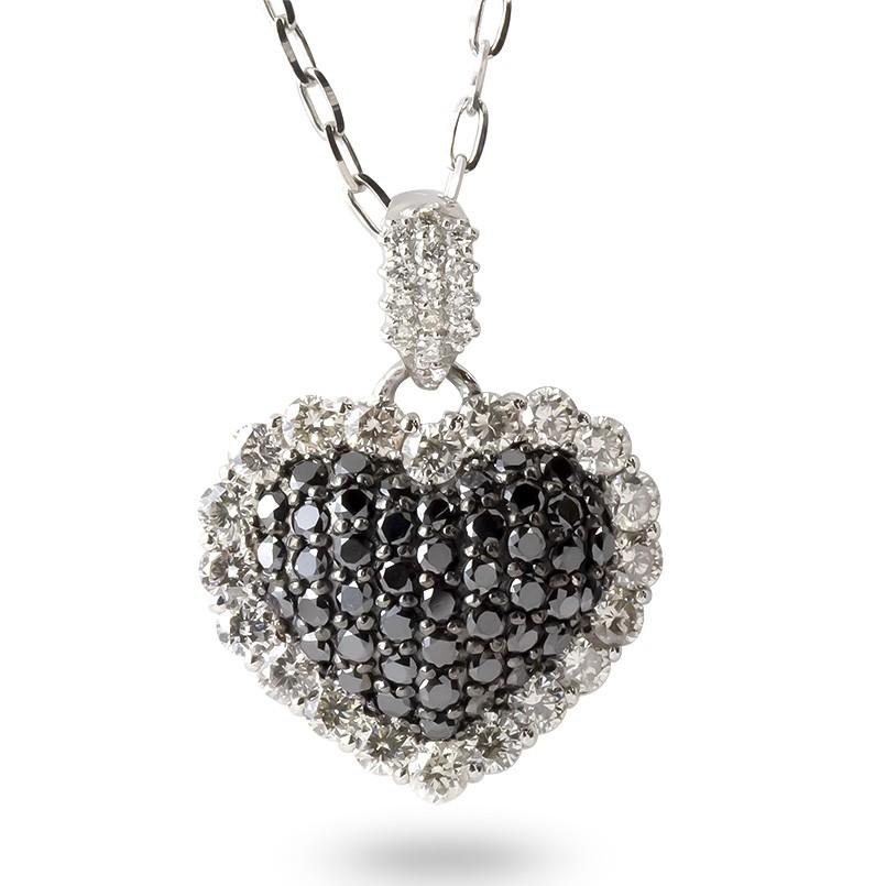 プラチナ ネックレス レディース ダイヤモンド ブラックダイヤモンド ハート pt900 ブラックメッキ ペンダント チェーン 宝石 女性 人気 送料無料