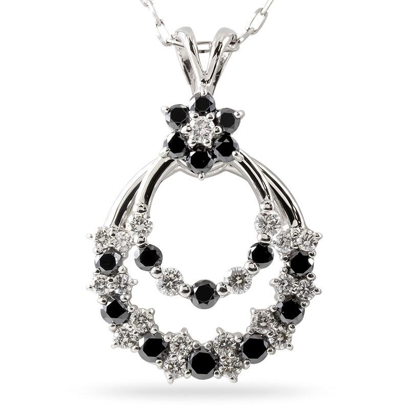 プラチナ ネックレス レディース ダイヤモンド ブラックダイヤモンド スイング pt900 ペンダント チェーン 宝石 女性 人気 送料無料