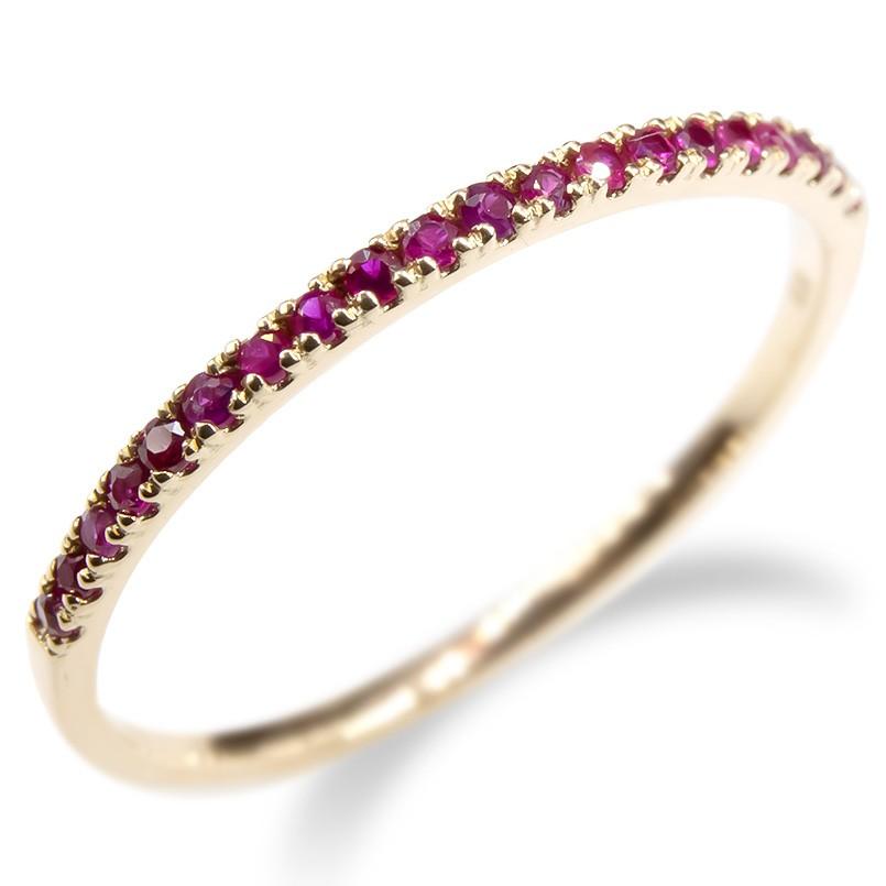 婚約指輪 安い ゴールド リング ルビー レディース 指輪 ハーフエタニティ 10k イエローゴールドk10 10金 エンゲージリング ピンキーリング 女性 送料無料