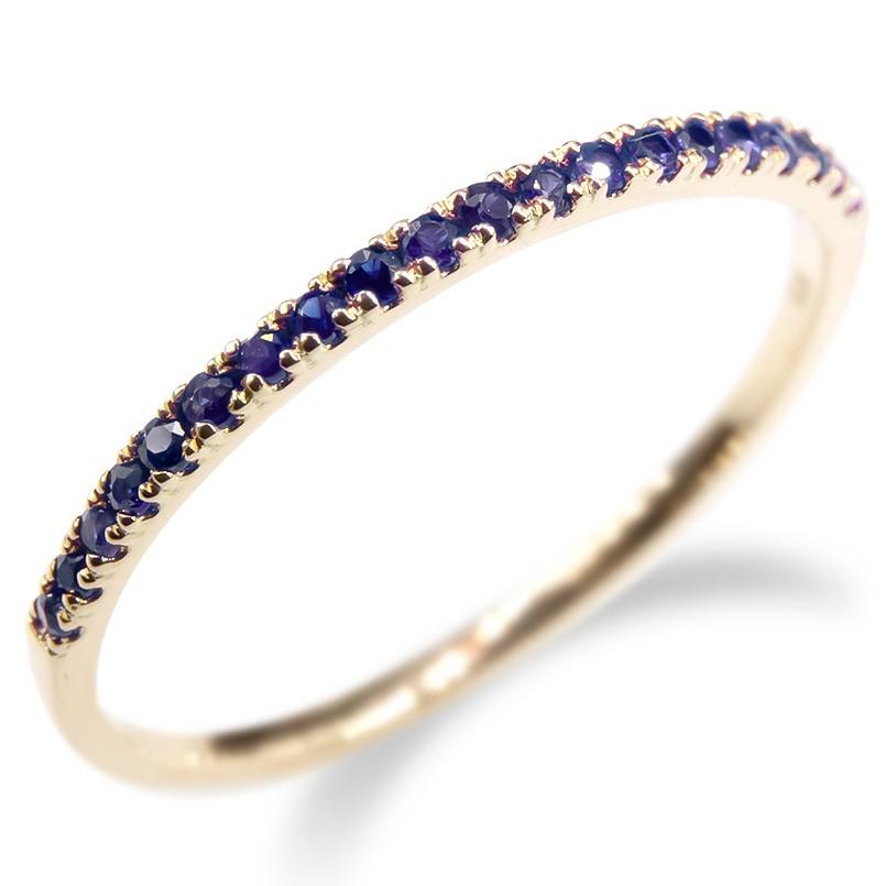 婚約指輪 安い ゴールド リング サファイア レディース 指輪 ハーフエタニティ 10k イエローゴールドk10 10金 エンゲージリング ピンキーリング 女性 送料無料