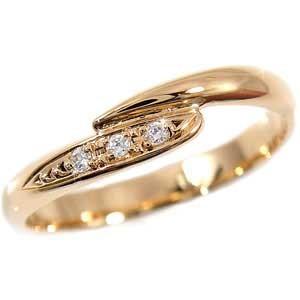 ピンキーリング ダイヤモンド リング ピンクゴールドk10 0.04ct 指輪 k10 10金 ダイヤ ストレート 宝石 送料無料