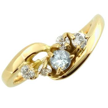 ピンキーリング アクアマリンダイヤモンドリング イエローゴールドk10 指輪 k1010金 ダイヤ ストレート 送料無料