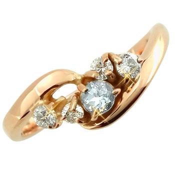 ピンキーリング アクアマリンダイヤモンドリング ピンクゴールドk10 指輪 k1010金 ダイヤ ストレート 宝石 送料無料