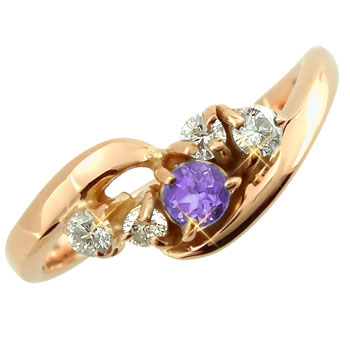 ピンキーリング アメジストダイヤモンドリング ピンクゴールドk10 指輪 k1010金 ダイヤ ストレート 宝石 送料無料