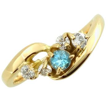 ピンキーリング ブルートパーズダイヤモンドリング イエローゴールドk10 指輪 k10 10金 ダイヤ ストレート 宝石 送料無料