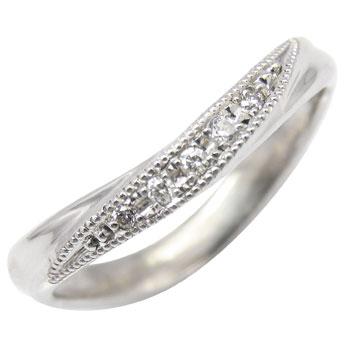 ピンキーリング 指輪 ダイヤモンド リング ダイヤモンド ホワイトゴールドk18 ミル打ち ミル 18金 ダイヤモンドリング ダイヤ ストレート 送料無料