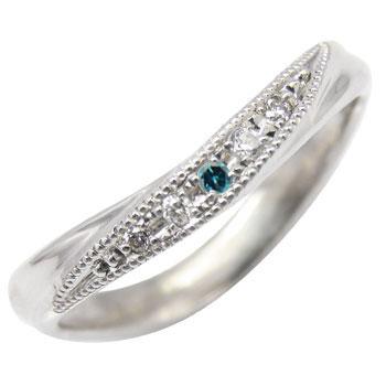 ピンキーリング ホワイトゴールドk10リング ダイヤモンドリング ブルーダイヤモンド 指輪 k10 10金 ダイヤ ストレート 送料無料
