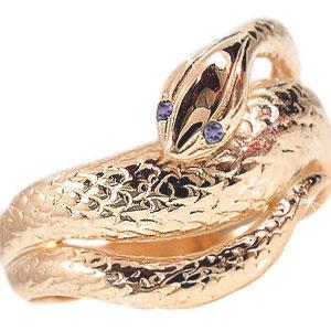 ピンキーリング アメジストリング スネークリング ピンクゴールドk18 k18 蛇リング 指輪2月誕生石 18金 宝石 送料無料