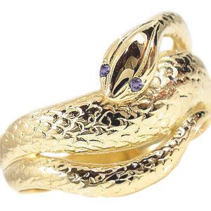 ピンキーリング アメジストリング スネークリング イエローゴールドk18 k18 蛇リング 指輪2月誕生石 18金 宝石 送料無料