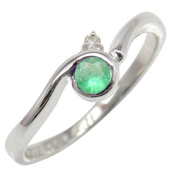 ピンキーリング エメラルドリング ダイヤモンド 指輪 ホワイトゴールドk18 ダイヤ 18金 5月誕生石 ストレート 宝石 送料無料
