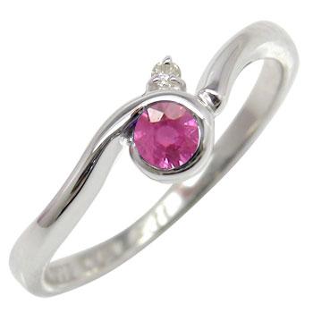 ピンキーリング ルビーリング ダイヤモンド ホワイトゴールドk10指輪 k10 10金 ダイヤ ストレート 宝石 送料無料