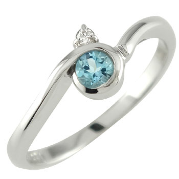ピンキーリング トパーズ ブルートパーズリング ダイヤモンド 指輪 ホワイトゴールドk18 ダイヤ 18金 11月誕生石 ストレート 宝石 送料無料